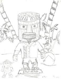 tiki man drawing