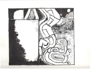 aztec ink drawing