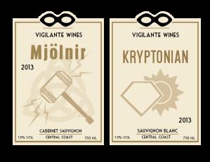wine label mjolnir thor superman krypton